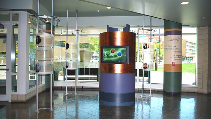 An interactive kiosk displays a history of Northeast Ohio innovation, CSU learning tools and news.