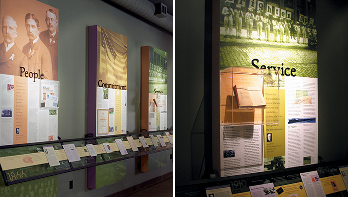 Sherwin-Williams Center of Excellence: A 40 ft. timeline supported by values that have been adhered to throughout its history feature narratives, historic photos and objects.