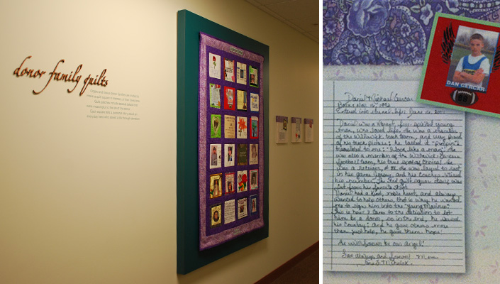 Interior hallways contain four commemorative quilts assembled by donor and recipient families.
