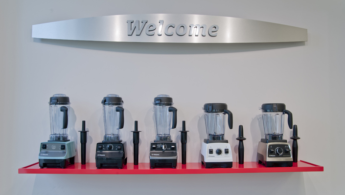 The five styles of Vitamix refurbished blenders greet the customers as they walk into the store.