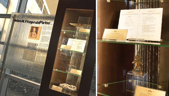 "The main lobby windows illuminate Helen Parker's story. In the display case: several of her handwritten ""recipes,"" the first Parker ""winged"" logo, ""Parkie"" the mascot from the '40s and a rope belt worn by Pat Parker."