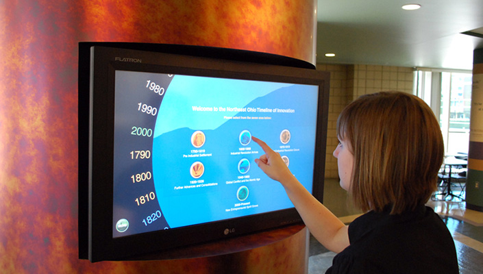 """By selecting the """"Northeast Ohio Innovation Timeline"""", the visitor can choose a decade to view."""