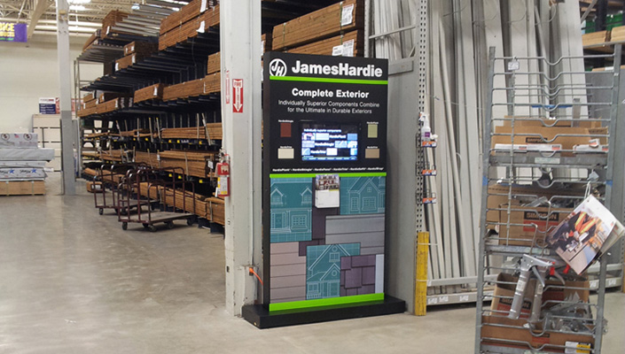 The branded James Hardie free-standing kiosk contains the touch screen monitor, actual material samples and product literature.