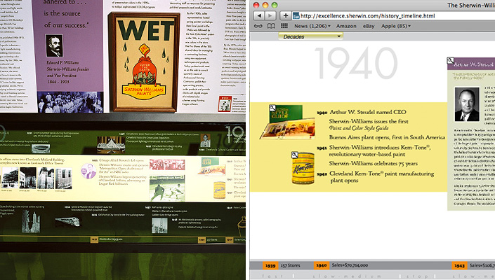 On the left, the exhibitry showing how the timeline was fabricated and appears in the space. On the right, how the timeline was modified for the online experience.