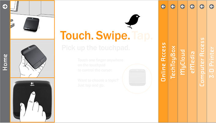 A friendly blackbird icon guides visitors to use the wireless touchpad.