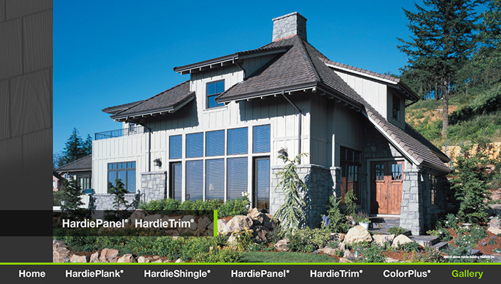 The Gallery shows actual homes using James Hardie products.