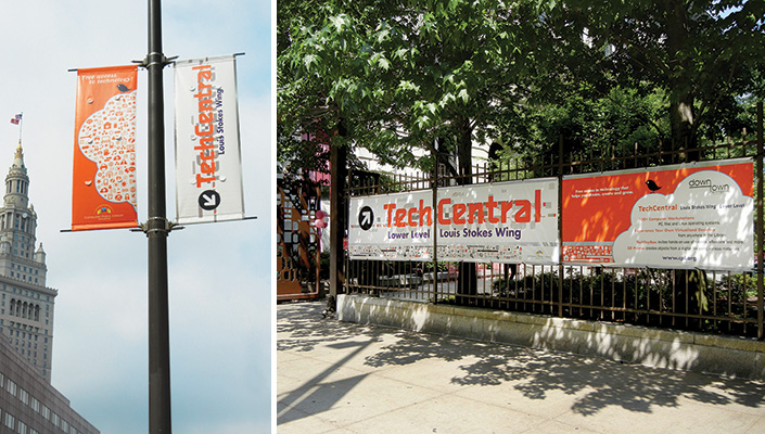 The street pole and Eastman Garden fence banners boldly announce TechCentral - a major success in the Library's efforts to build the library of the future.