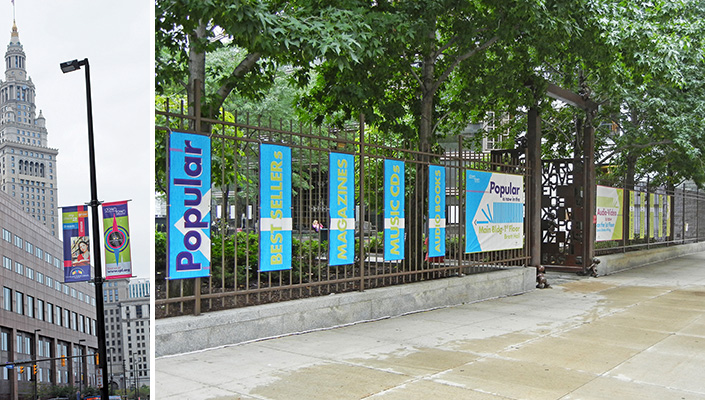 Street pole and fence banners highlight the two collections that have moved to new locations: Popular and Audio Video.