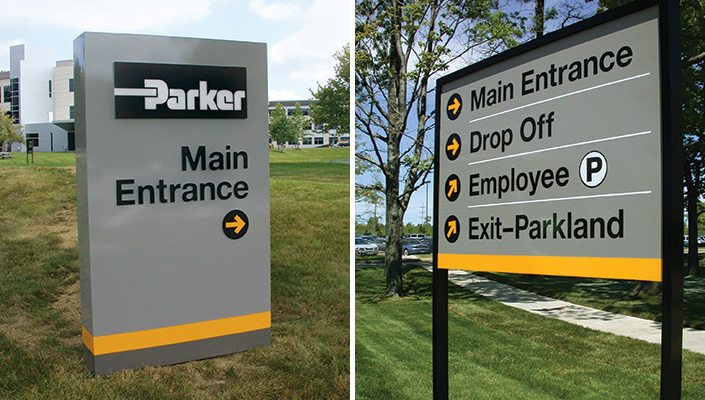 The free-standing directional sign for the main entrance is internally illuminated.  Once inside the campus, the directional sign panels contain reflective material.