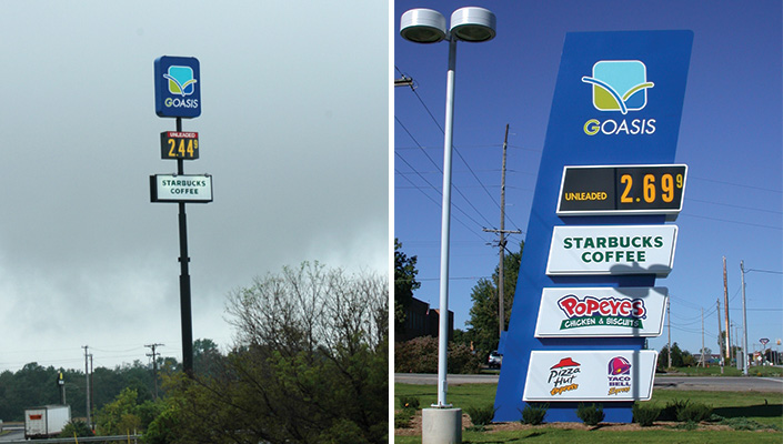 The high-rise sign and main entrance sign contain co-branded offerings and are both internally illuminated.