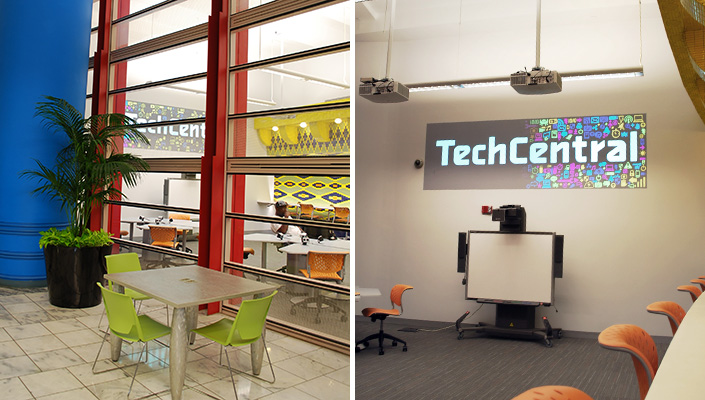 A pair of projectors animate a playful introduction that can be seen from the area outside TechCentral.