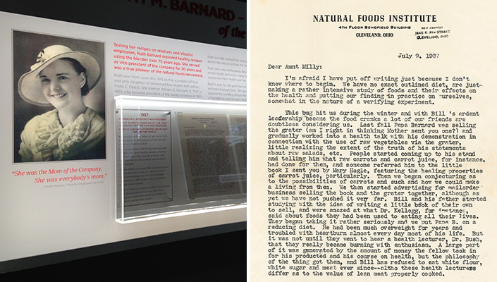 Close-up of the exhibit with a recessed, internally lit case showing the letter from Ruth circa 1937.