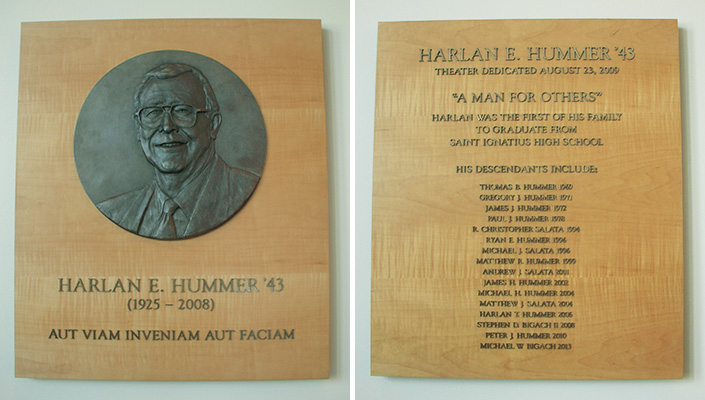 The Hummer family's  donation included naming the theater. Two plaques located in the lobby honor Harlan and all his descendants who attended the school.