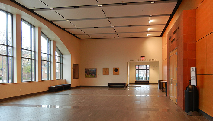 The versatile lobby holds many events prior to performances. The Hummer, Disanto and Burke plaques are located in this space.