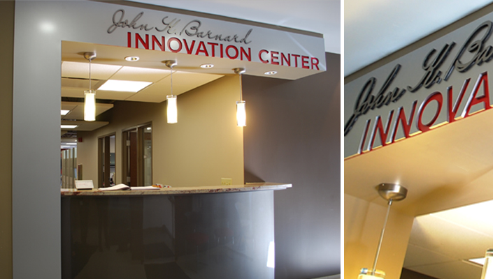 The John K. Barnard Innovation Center reveals Vitamix red supporting the innovation taking place there.
