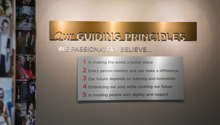 The Guiding Principles are located in another area of the Main Lobby.