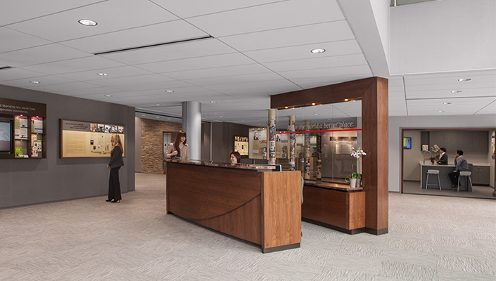 The open main lobby invites visitors to explore and a demonstration area provides Vitamix smoothie