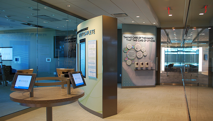 A vertical interactive monitor contains a lead-generating interface for visitors to request more information.