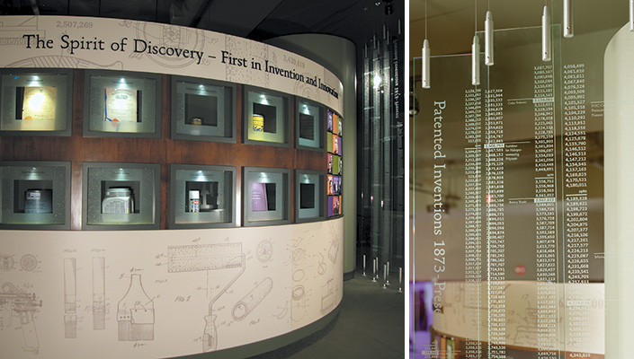 """The """"Spirit of Discovery"""" Wall features the top 10 inventions. Suspended glass panels display more than 1,000 patents."""