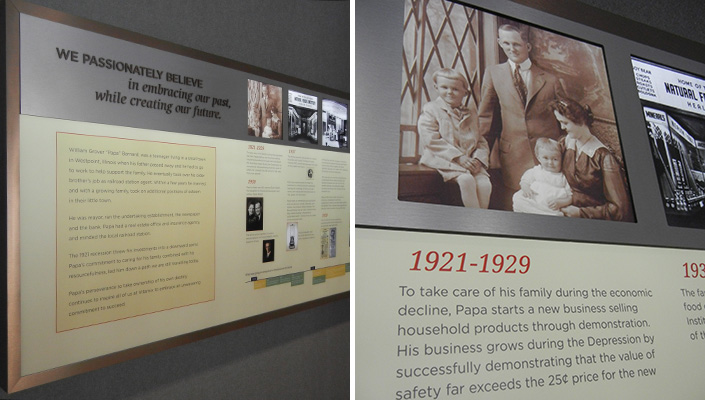 The back-lit historical timeline highlights the 96-year-old, family-owned company.
