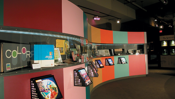 "The ""Color Wall"" displays decades of popular colors and a variety of tools that Sherwin-Williams devised to help its customers."