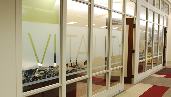 Vitamix values appear on offices and conference rooms to inspire and provide privacy.