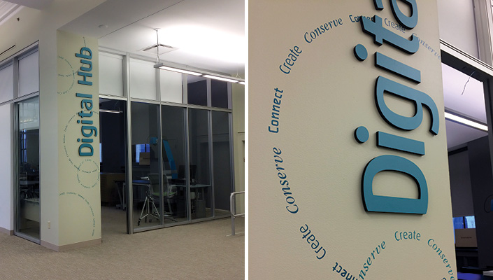 """Dimensional letters identify the three areas within the space supporting CDPL's theme """"Create, Conserve, Connect"""". These words form a circular pattern on all interior walls."""