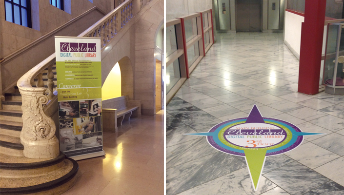 Banner stands and new compass floor graphics show the way to CDPL throughout the site.
