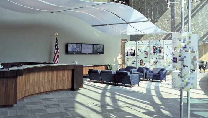 The main lobby displays a series of exhibits that introduce the Customers and visitors to STERIS.
