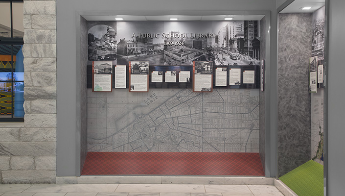 Each era's timeline is framed by large, historical photos and a Cleveland map from the time period.