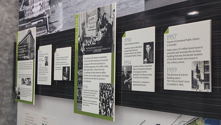 The rich history of the Library is presented in a chronological series of narrative panels using authentic photos from the Library's collection.
