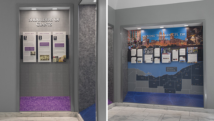 "The ""Shoulders of Giants"" exhibit focuses on 54 years of leadership by three individuals. The current era moves the visitor toward the 150th anniversary of the Library."