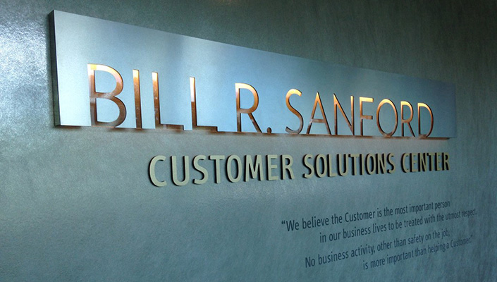 """The Customer Solutions Center positions the first CEO's mantra at the entrance: """"We believe the Customer is the most important person in our business lives to be treated with the utmost respect."""""""