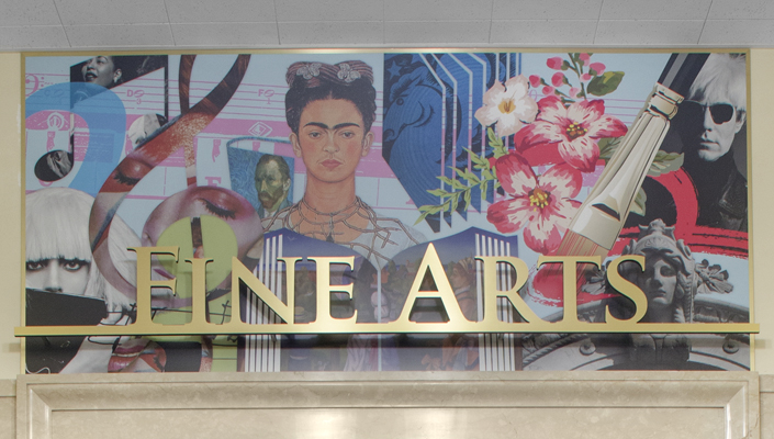 Main Building: close-up of the Fine Arts department portal sign.