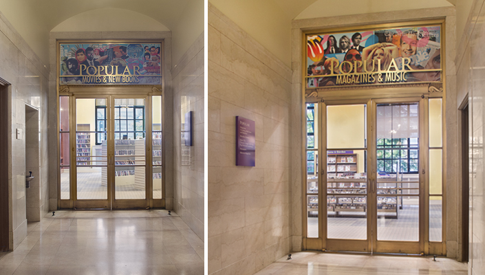 Main Building: department portal signage features unique, illustrative collages with dimensional metallic type.