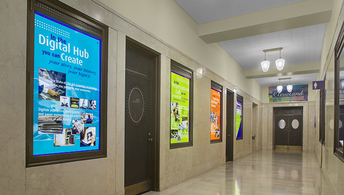 In the walkway, original built-in display cases were outfitted with back-lit graphics describing the features and services of CDPL.