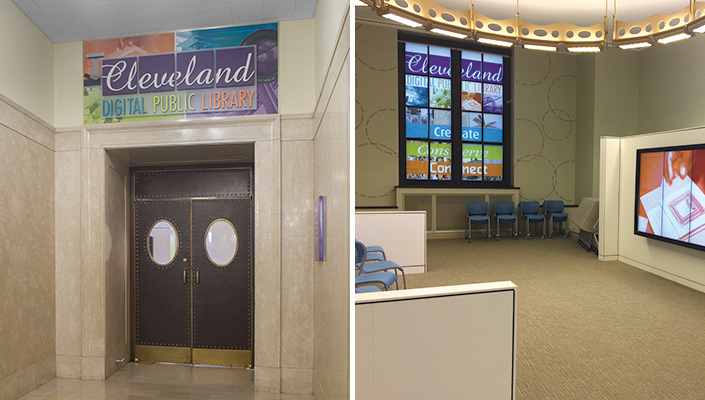 The CDPL identity appears above the entrance, on interior windows and across a multiple-screen   multimedia presentation.