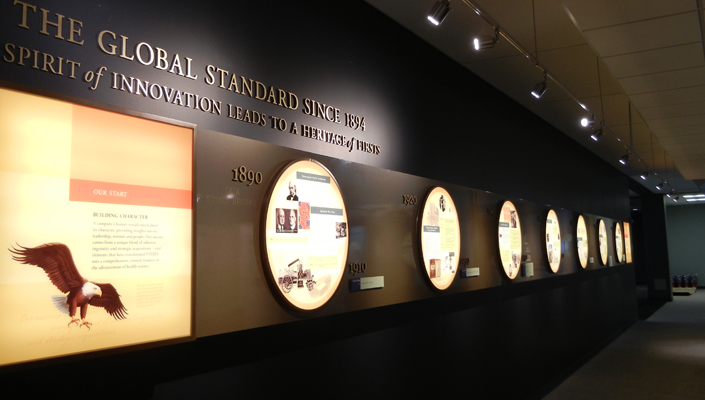 STERIS Corporate Headquarters: An 40 ft. internally lit timeline tells the company's story by decade.