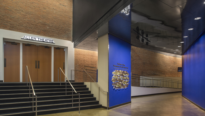 The Donor Wall is located in the Playhouse Square walkway that leads to all three theaters:  the Allen Theatre, the Outcalt Theatre and The Helen.