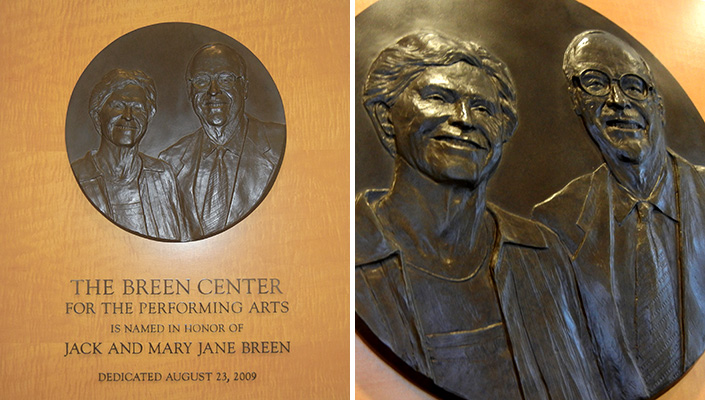 The Breens' plaque is located in the entrance to the performing arts center.
