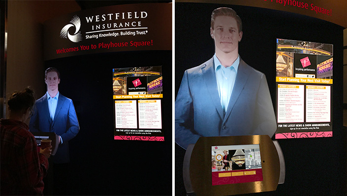 "The illuminated header acknowledges the donor, Westfield Insurance. A calendar of events complement ""Wes"" and the iPad."