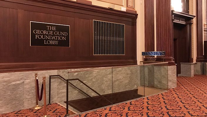 "Located at the entrance to the Ohio Theatre lobby, The George Gund Foundation Lobby plaque is 30"" x 50""."