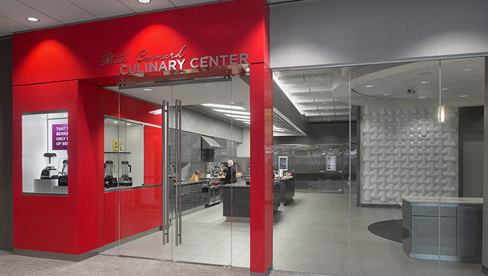 The Ruth Barnard Culinary Center entrance with Vitamix product display.