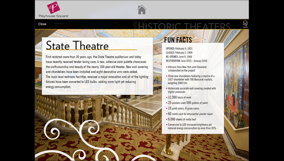 Fun Facts are available for each theater.