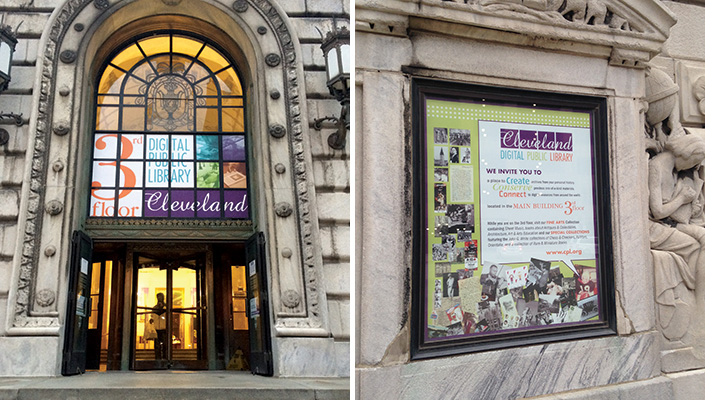 Branded messaging on the window graphics above the Main Bldg. entrance and the architectural vitrines invite the visitor up to the 3rd floor.