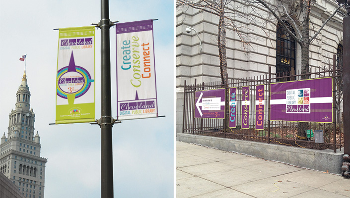 Announcing the new CDPL area available on the 3rd floor in the Main Bldg. begins on the street pole banners and banners on the Eastman Reading Garden fence.