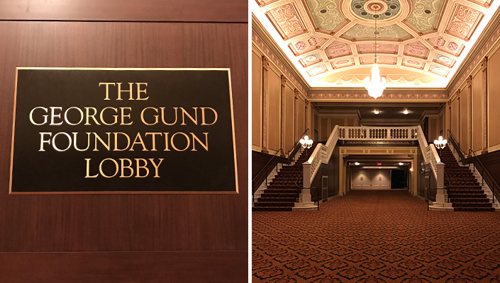 The generous gift from The George Gund Foundation was key in the restoration of the Ohio Theatre lobby.